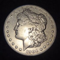 1904-S MORGAN SILVER DOLLAR - CHOICE FINE F DETAILS FROM THE SAN FRANCISCO MINT