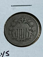 1867 US SHIELD NICKEL WITH RAYS