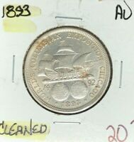 1893 COLUMBIAN EXPO SILVER HALF DOLLAR  AU  CLEANED  COIN REF D/D