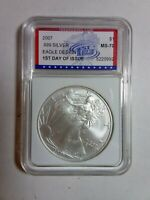 2007 SILVER EAGLE 1ST DAY OF ISSUE IGS