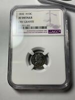 1832 CAPPED BUST HALF DIME NGC EXTRA FINE  DETAILS, OBV GRAFFITI