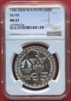 WEST AFRICAN STATES , ESSAI SILVER 5000 FRANCS 1982 - NGC MINT STATE 67 ,,