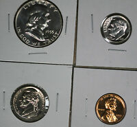 NICE PARTIAL 1955 US PROOF SET      HALF DIME NICKEL AND CEN