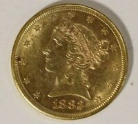 1882 S $5.00 GOLD LIBERTY HEAD HALF EAGLE GREAT LUSTER B41A