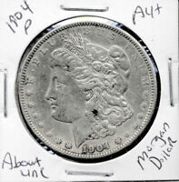 1904 P AU MORGAN DOLLAR 100 CENT  ABOUT UNCIRCULATED 90 SILVER US $1 COIN 1321