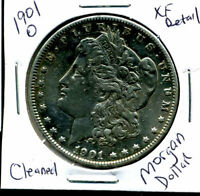 1901 O EXTRA FINE  DETAIL MORGAN DOLLAR CLEANED EXTRA FINE 90 SILVER US $1 COIN 4924