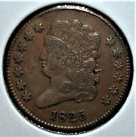 1825 HALF CENT WITH A 30  DIE ROTATION MINT ERROR
