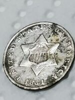 1851  3 CENT SILVER TRIME; 1ST YR MINTED; TYPE 1; SM STARS