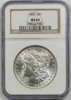 1886 $1 NGC/OLD HOLDER MINT STATE 64 MORGAN SILVER DOLLAR