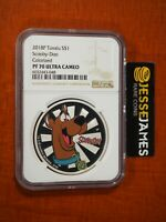 2018 P $1 TUVALU PROOF SILVER COLORIZED SCOOBY DOO NGC PF70
