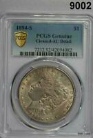 1894 S MORGAN SILVER DOLLAR PCGS CERTIFIED GENUINE AU DETAILS CLEANED 9002