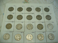 LOT OF 20 1934  1963  USA  HALF DOLLAR SILVER COINS  50 CENT PIECES   90