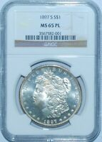 1897 S NGC MINT STATE 65PL PROOFLIKE VAM-4 DOUBLED 1-7 BOW DIE GOUGE MORGAN SILVER DOLLAR