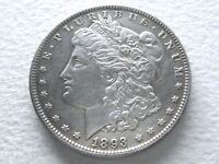 1893 MORGAN SILVER DOLLAR COIN, COVETED DATE EXTREME DETAIL 5-U