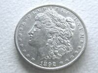 1892 MORGAN SILVER DOLLAR COIN, OFTEN OVERLOOKED DATE EXTREME DETAIL 8-V