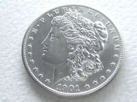 1901-S MORGAN SILVER DOLLAR, BRIGHT SHINY OFTEN OVERLOOKED DATE 8-G