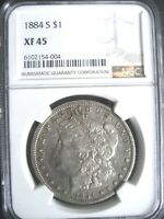 1884-S MORGAN SILVER DOLLAR COIN, NGC EXTRA FINE -45 R COVETED DATE