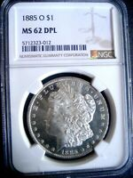1885-O MORGAN SILVER DOLLAR COIN, NGC MINT STATE 62 DPL - DMPL MIRRORS, FROSTY