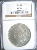 1901 MORGAN SILVER DOLLAR COIN, NGC AU-50 - HIGH GRADE FOR THIS R DATE