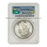 FINEST KNOWN 1892-CC $1 SILVER MORGAN PCGS MINT STATE 67 CAC PQ APPROVED ILLINOIS SET
