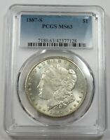 1887-S PCGS MINT STATE 63 SILVER MORGAN DOLLAR $1 US COINS ITEM 29141A