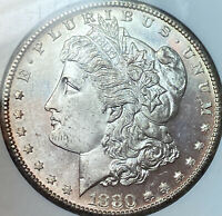1880-S MORGAN DOLLAR NGC MINT STATE 64 SILVER DOLLAR, BRIGHT WHITE PROOF LIKE??