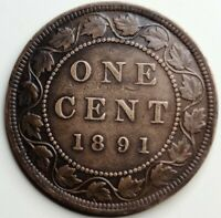 1891 SDLL OBVERSE 2 CANADA 1 CENT  PENNY  CANADIAN 1891 LL SD OBVERSE  2  1