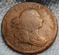 US 1808 DRAPED BUST HALF CENT - EARLY COPPER HALF PENNY - 1/2