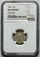 1835 CAPPED BUST 10C SILVER DIME NGC UNC DETAILS, CLEANED