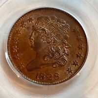 1828 PCGS MINT STATE 64 RB CLASSIC HEAD HALF CENT COIN 1/2C 13 STARS