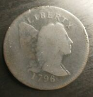 1796 FLOWING HAIR LIBERTY CAP LARGE CENT G VG  GOOD EAC KEY S-81 R3