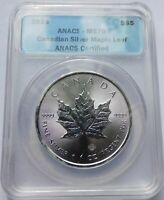 2014 CANADIAN SILVER MAPLE LEAF $5   ANACS MS70