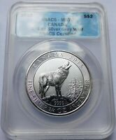 2015 CANADA SILVER GREY WOLF $2 COIN   ANACS MS70