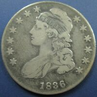 1836 CAPPED BUST SILVER HALF DOLLAR 50C - F/VF DETAIL