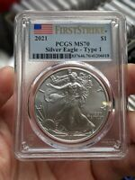 2021 AMERICAN SILVER EAGLE TYPE1 T1 PCGS GRADED MS70