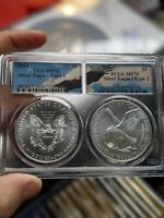 2021 $1 TYPE 1 AND TYPE 2 SILVER EAGLE SET PCGS MS70 EAGLE LABEL