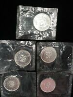 5  1964 CANADIAN SILVER UNC DOLLARS SEALED IN ORIGINAL CELLO
