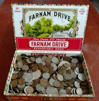 OLD CIGAR BOX COIN LOT OVER 11 LBS OF WHEAT PENNIES AND OTHE