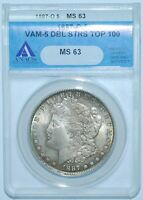 1887 O ANACS MINT STATE 63 VAM-5 TOP-100 DOUBLED STARS MORGAN SILVER DOLLAR