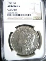 1901 MORGAN SILVER DOLLAR COIN, NGC AU DETAILS - R DATE SOME LUSTER