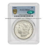 1904 $1 SILVER MORGAN DOLLAR PCGS MINT STATE 65 CAC CERTIFIED GEM GRADED BLAST WHITE COIN