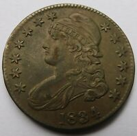 1834 CAPPED BUST SILVER HALF DOLLAR LARGE DATE   XF  EARLY H