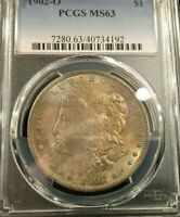 PCGS 1902-O MINT STATE 63 TONED OBVERSE MORGAN DOLLAR