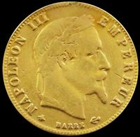 1864 A GOLD FRANCE 5 FRANCS NAPOLEON III COIN  OUT OF JEWELR
