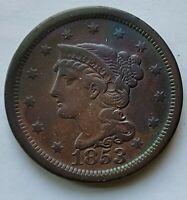 1853 BRAIDED HAIR US COPPER EARLY LARGE CENT