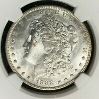 1888-O MORGAN SILVER DOLLAR  NGC - MINT STATE 63 BEAUTIFUL COIN REF53-037