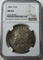 1883-O MORGAN SILVER DOLLAR - NEW ORLEANS MINTAGE - NGC MINT STATE 63 -  ORIGINAL