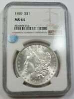 1889-P NGC MINT STATE 64 MINT STATE SILVER MORGAN DOLLAR $1 US COIN ITEM 29634B