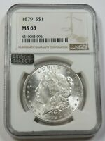 1879-P NGC MINT STATE 63 MINT STATE SILVER MORGAN DOLLAR $1 US COIN ITEM 29639A