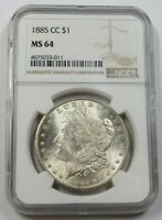 1885-CC NGC MINT STATE 64 MINT STATE SILVER MORGAN DOLLAR $1 US COIN ITEM 29643A